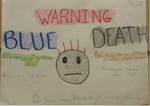 Promotional poster by 7th grader warning of Blue Death