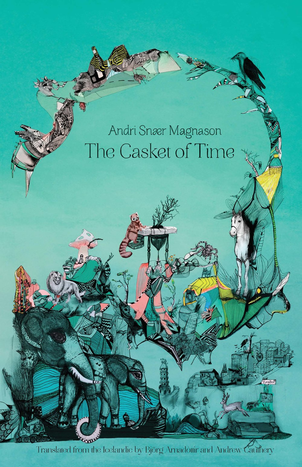 Cover for The Casket of Time by Andri Snær Magnason featuring animals and human landscapes connected by spider webbing