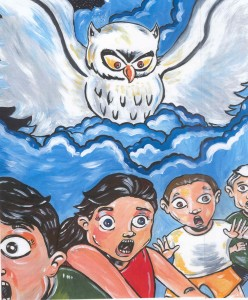 La Lechuza comes after naughty children, illustrated by Garza