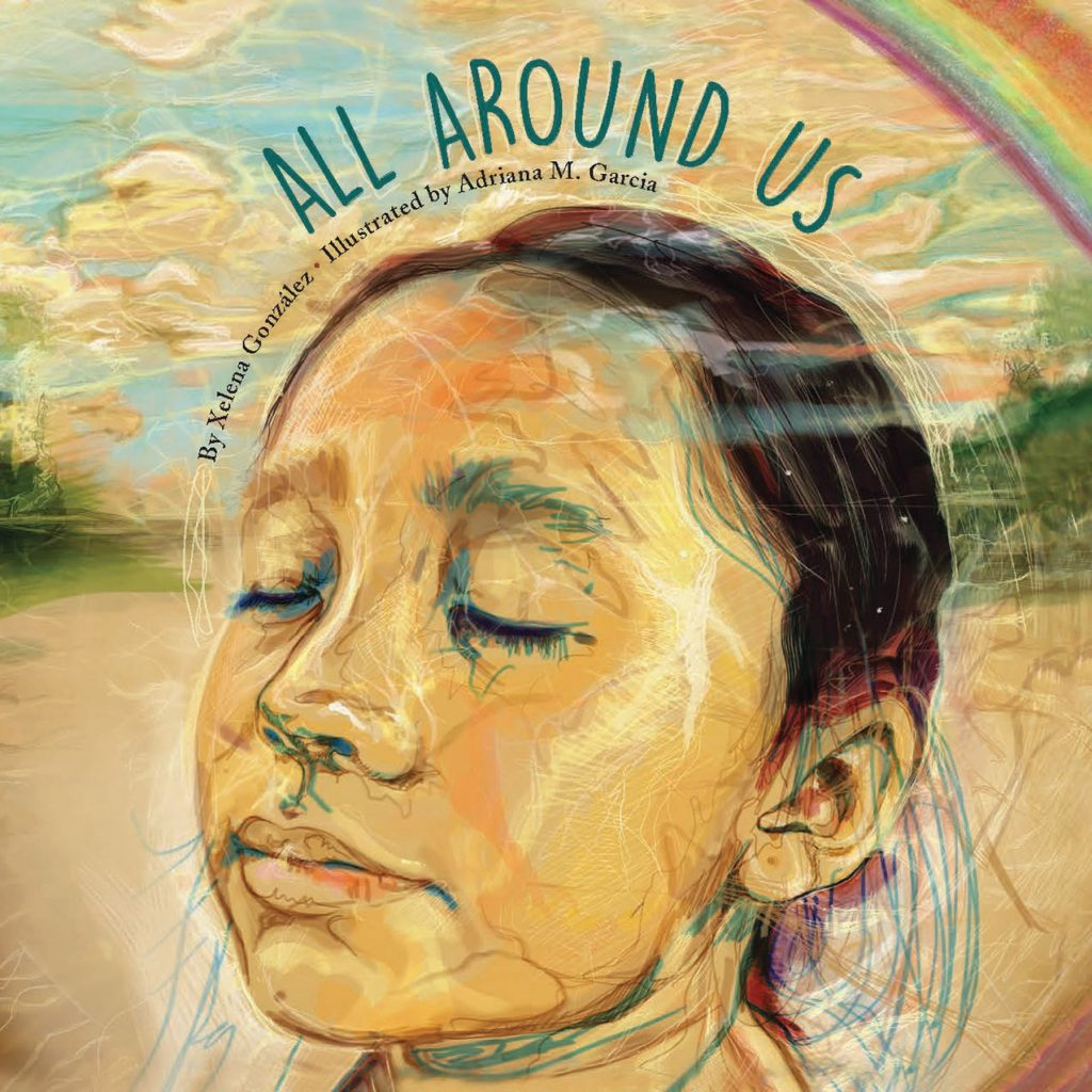 All Around Us cover features girl meditating on circles with a portion of a rainbow visible in the upper right corner