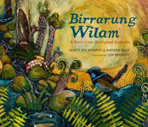 Birrarung Wilam cover art depicts a lush scene of plants and animals in a waterway.