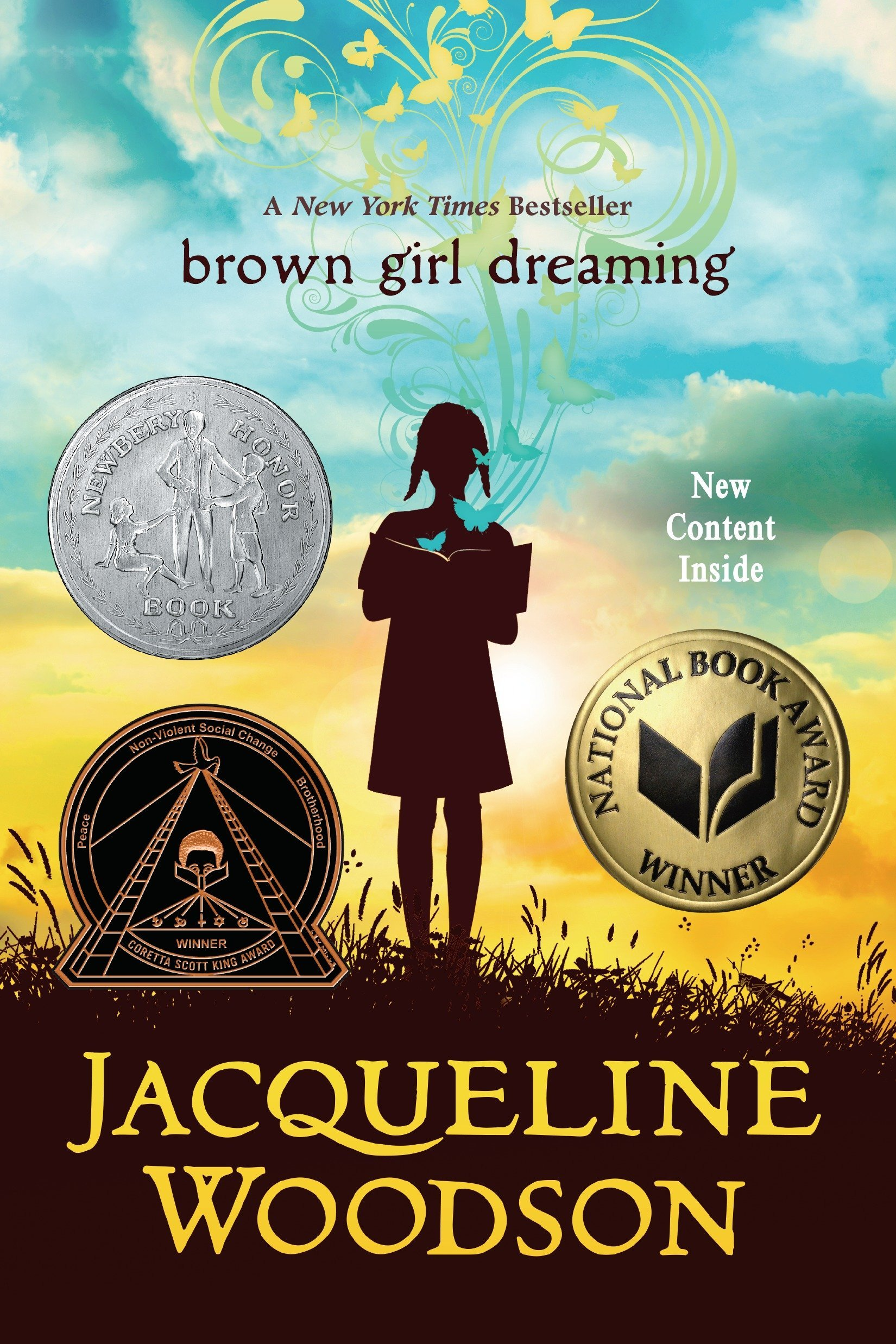 Book cover with a silhouette of a girl reading in the center of the book