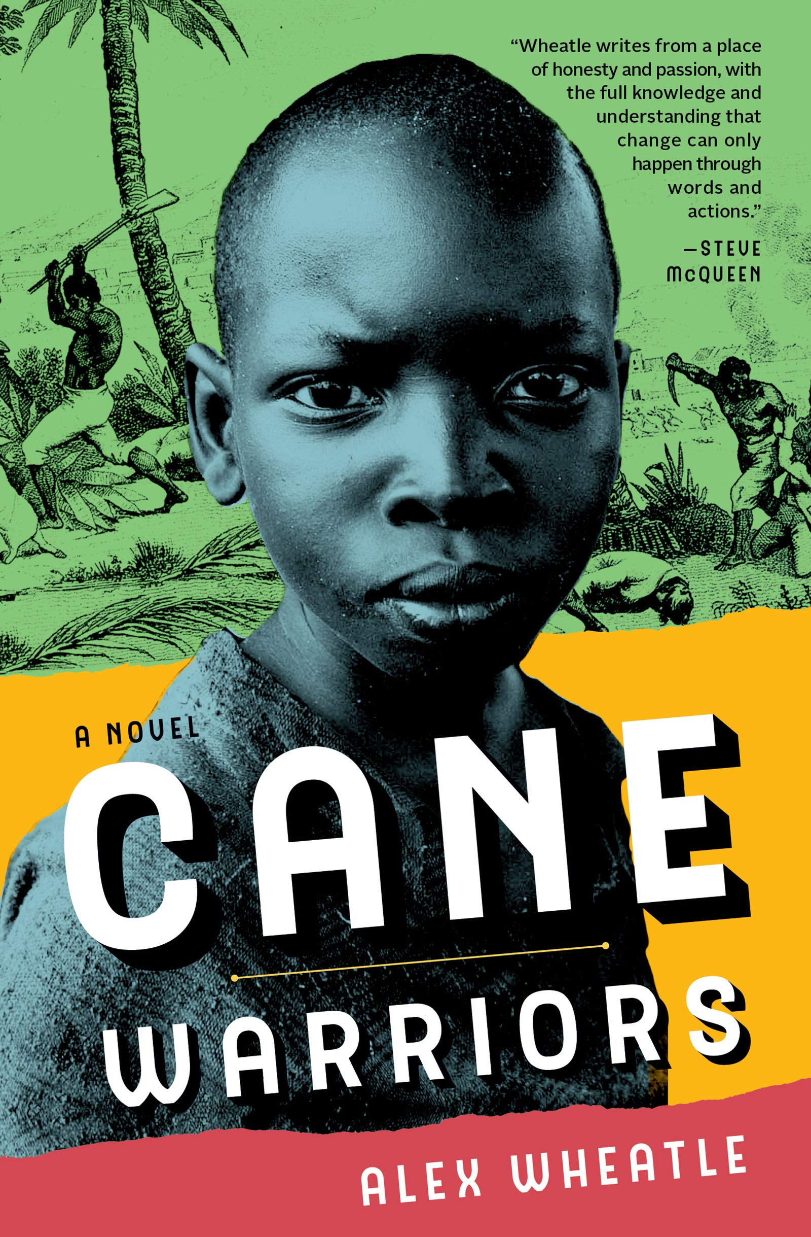 Cover art for Cane Warriors features a blue and black photograph of a young Black boy with an ink drawing of Tacky's Rebellion in the background.
