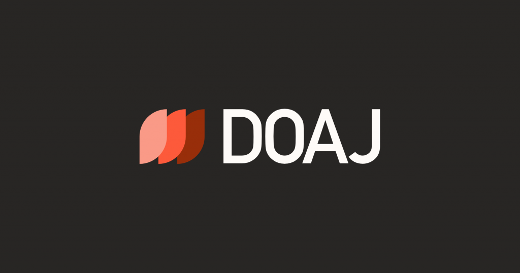 The DOAJ logo uses white text against a black background for contrast and three overlapping petals in shades of orange, orange being synonymous with open access.