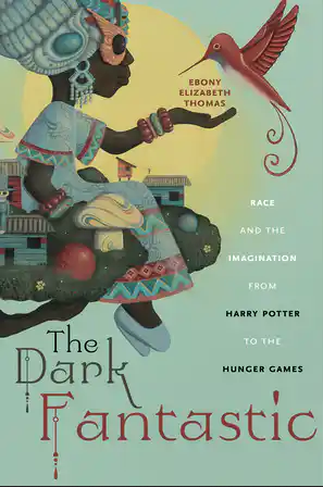 Cover art for The Dark Fantastic includes a Black girl sitting on the edge of a tree village extending her hand to a fantastical bird.