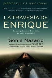 Cover of La Travesia De Enrique depicting a long road disappearing into the horizon. The sky is dark blue at the top of the cover and fades into white in the middle.