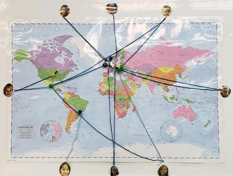 World Map showing the students'family origins.