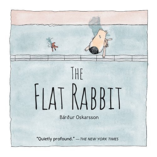 The Flat Rabbit cover shows an aerial view of a dog and a rat looking into the street. The flat rabbit is not depicted on the cover.
