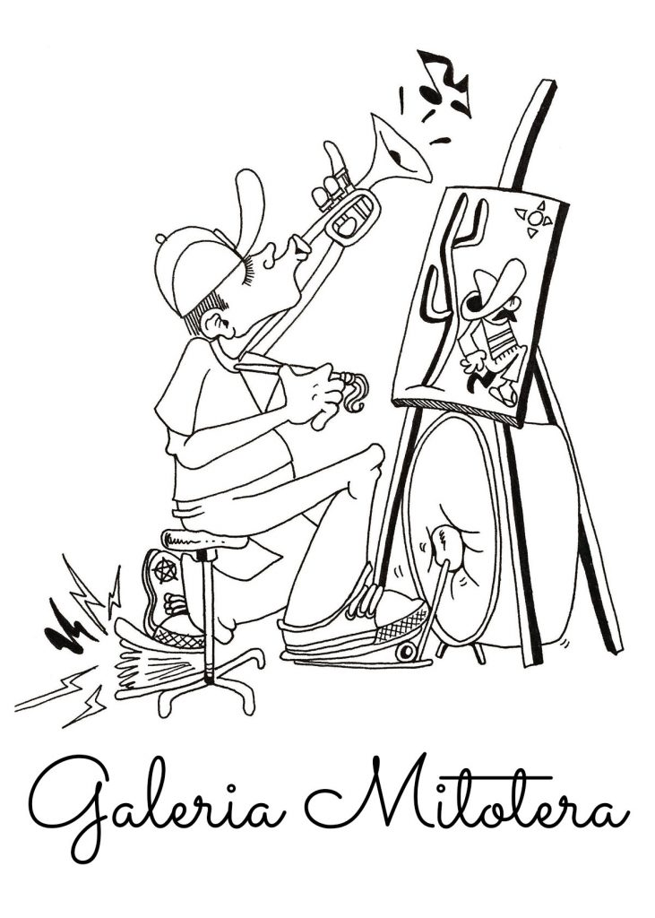 Galería Mitotera logo is black and white line art of a man playing the trumpet and bass drum while painting on an easel