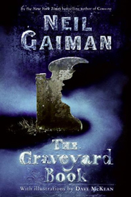 The book jacket to The Graveyard Book, written by Neil Gaiman and illustrated by Dave McKean.