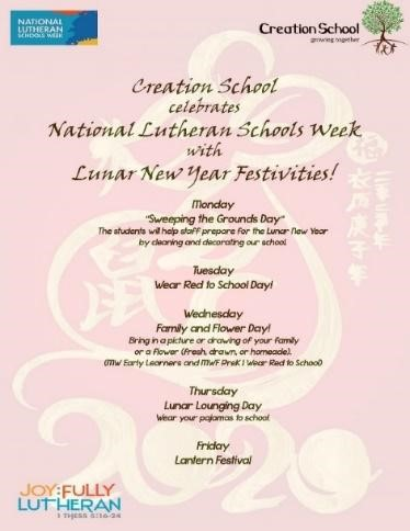 Schedule for National Lutheran Schools Week and the Lunar New Year Celebration.