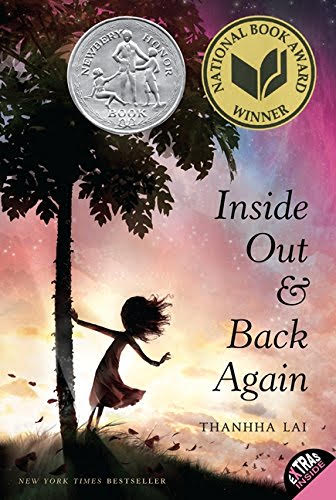 Cover of Inside Out and Back Again shows a girl in silhouette holding a palm tree with a vibrant dusk or dawn horizon.