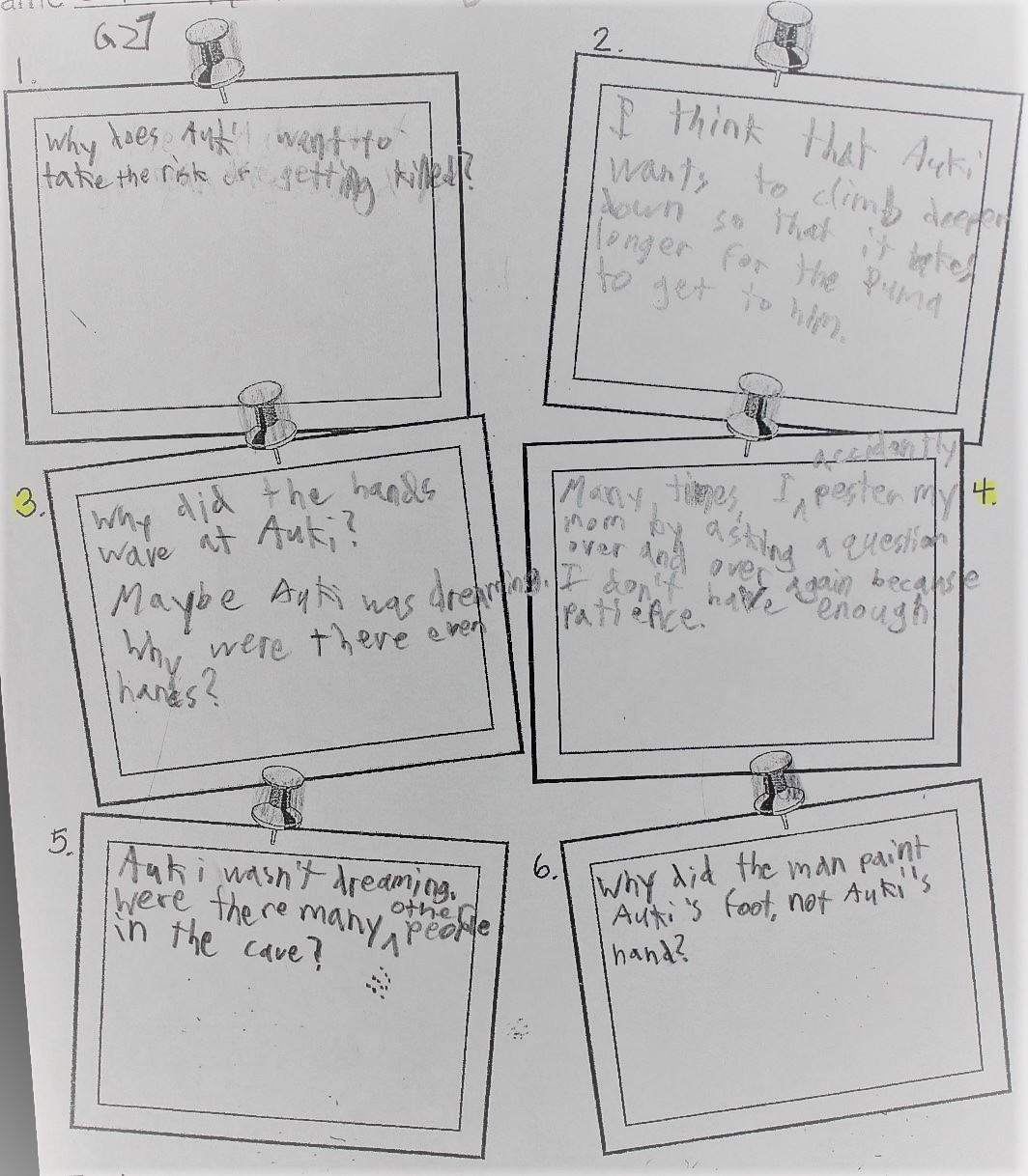 I gave students a note page with six different boxes to record their predictions, questions, and connections as we read