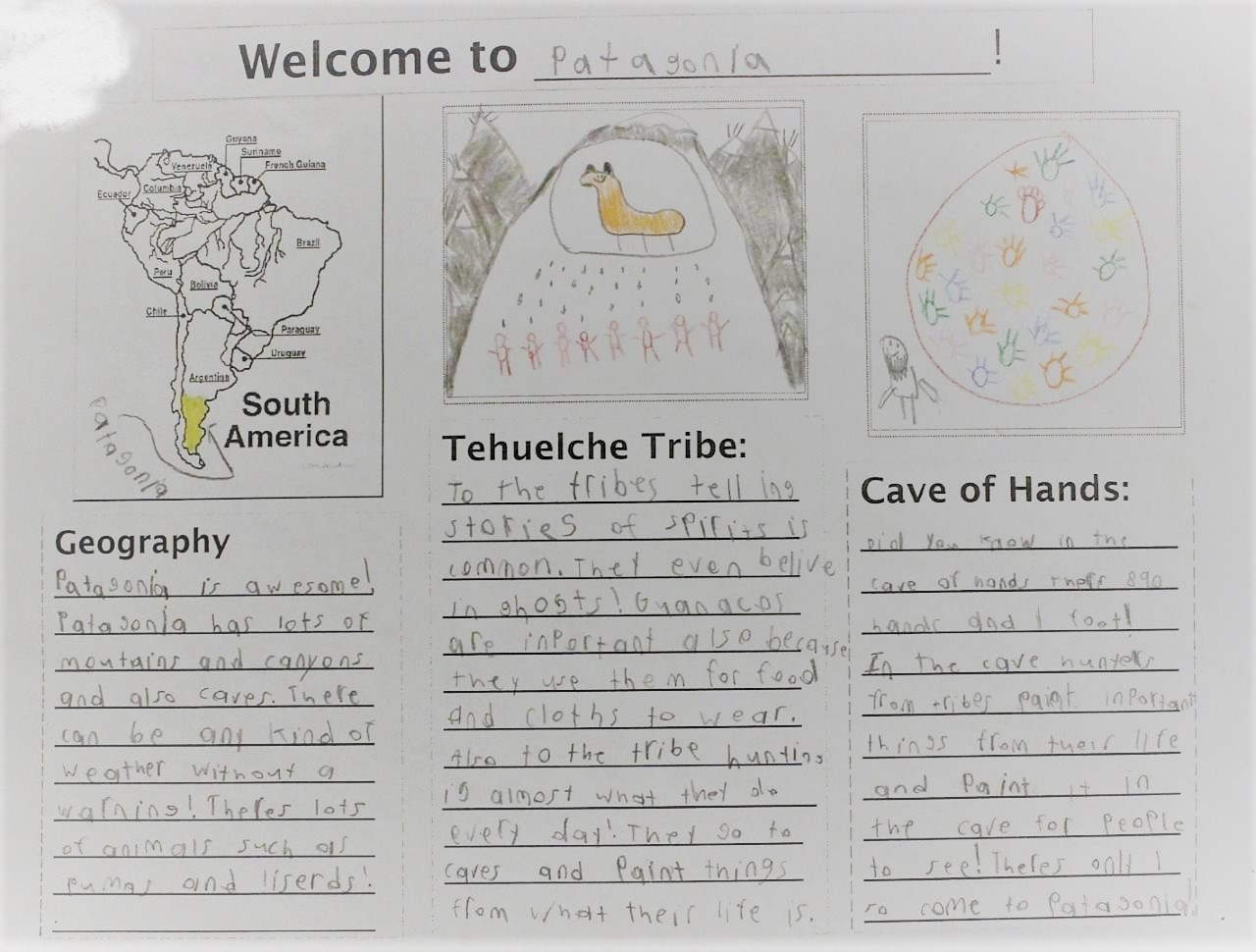 "In Annie's brochure, she discussed the mountains and canyons, the weather, the Cave of Hands, and the Tehuelche, writing, ""To the tribes, telling stories of spirits is common…They go to the caves and paint things from what their life is"""