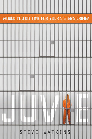 Cover of Juvie depicting empty cells on three levels, with the bottom level holding a young woman in an orange prison jumpsuit replacing the I in Juvie.