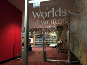 Photo of glass entrance to Worlds of Words collection.