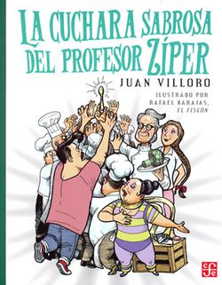 Cover of La cuchara sabrosa del profesor ziper depicting a colorful crowd of people reaching up towards a spoon.