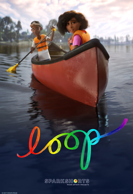 Movie poster of the short film Loop, depicting a young black girl and black boy in orange life vests on a canoe.