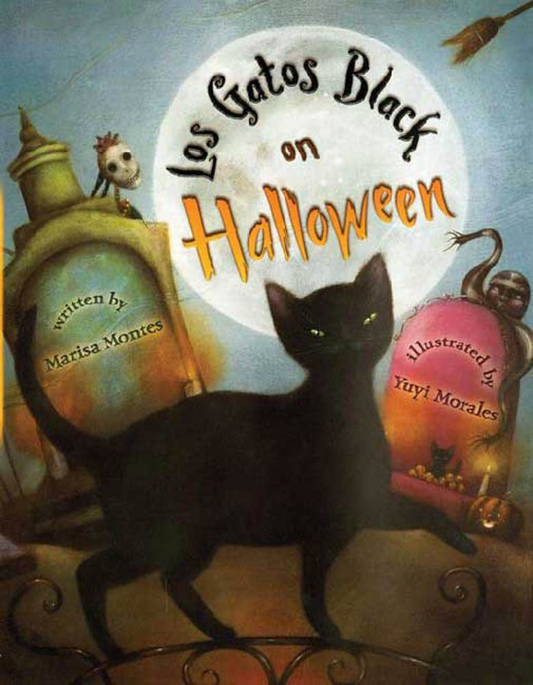 Book jacket for Los Gatos Black on Halloween by Marisa Montes