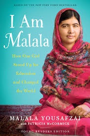 I Am Malala cover depicting Malala in a red floral scarf against a teal background