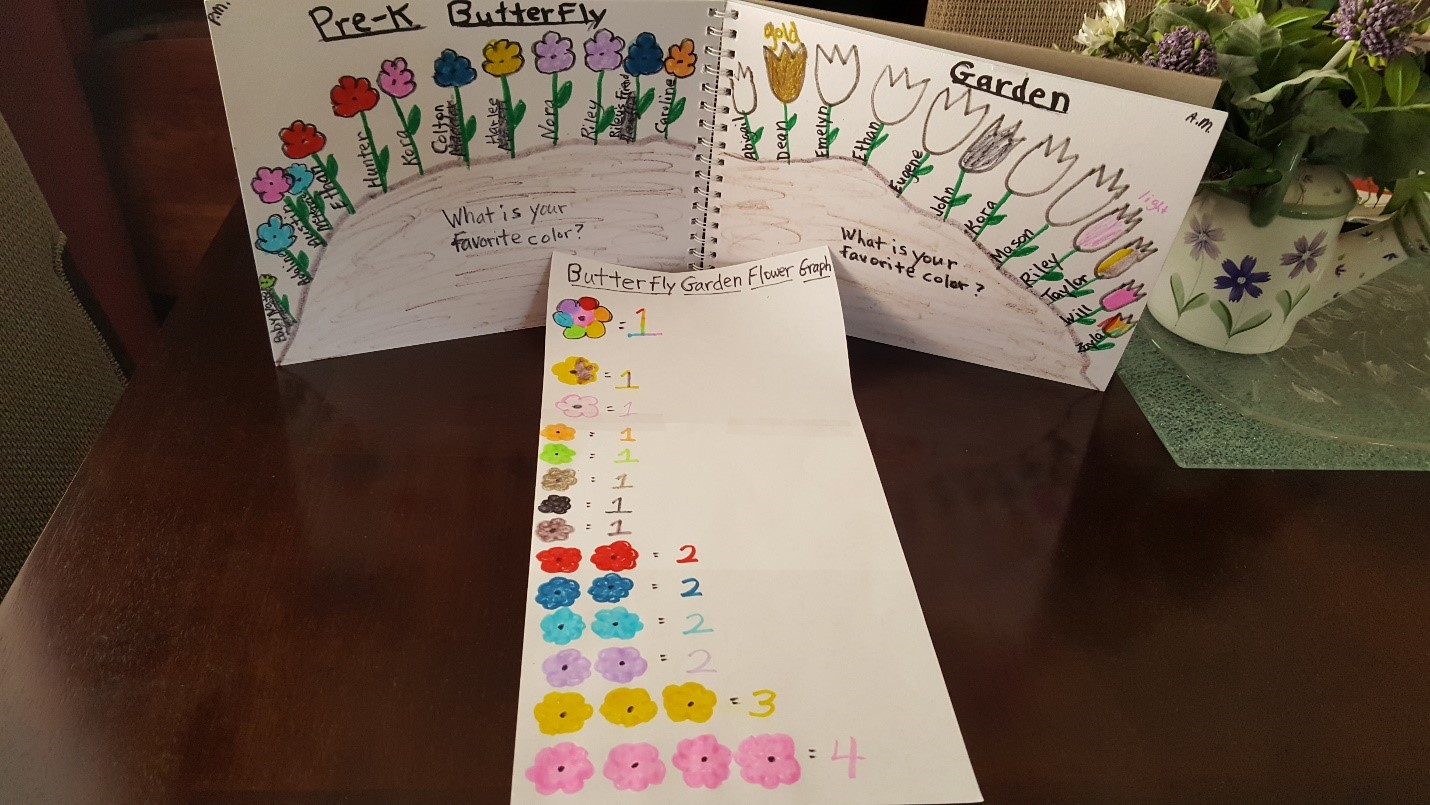 Sketch and graph of students' favorite colors for flowers in our future butterfly garden.