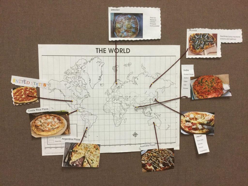 Pizza around the world map.