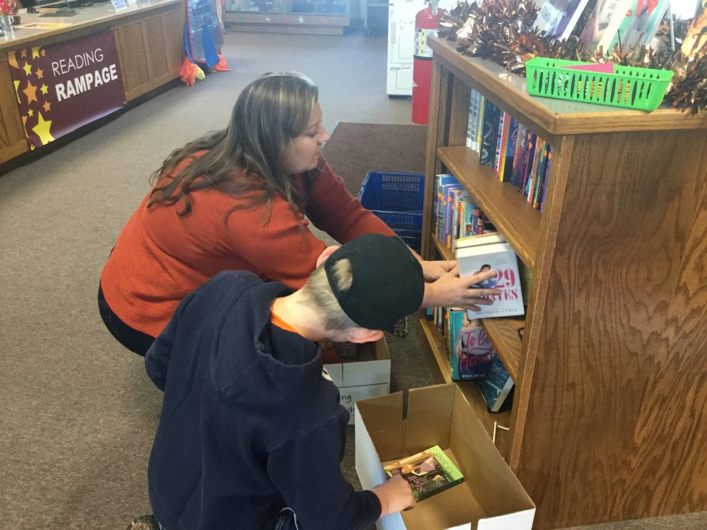 Selecting books at the Reading Rampage