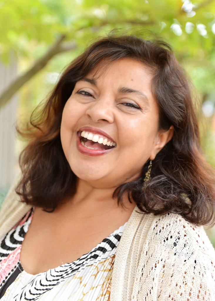 Mitali Perkins laughing.