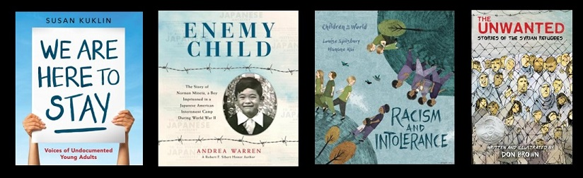 Book Jackets for We Are Here to Stay, Enemy Child, Racism and Intolerance, and The Unwanted.