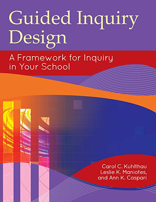 Cover for Guided Inquiry Design has straight and curved graphics with bold colors