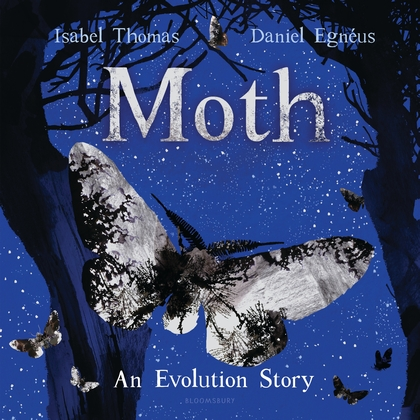 Cover for Moth depicts a silvery moth against a blue night sky with silhouetted trees