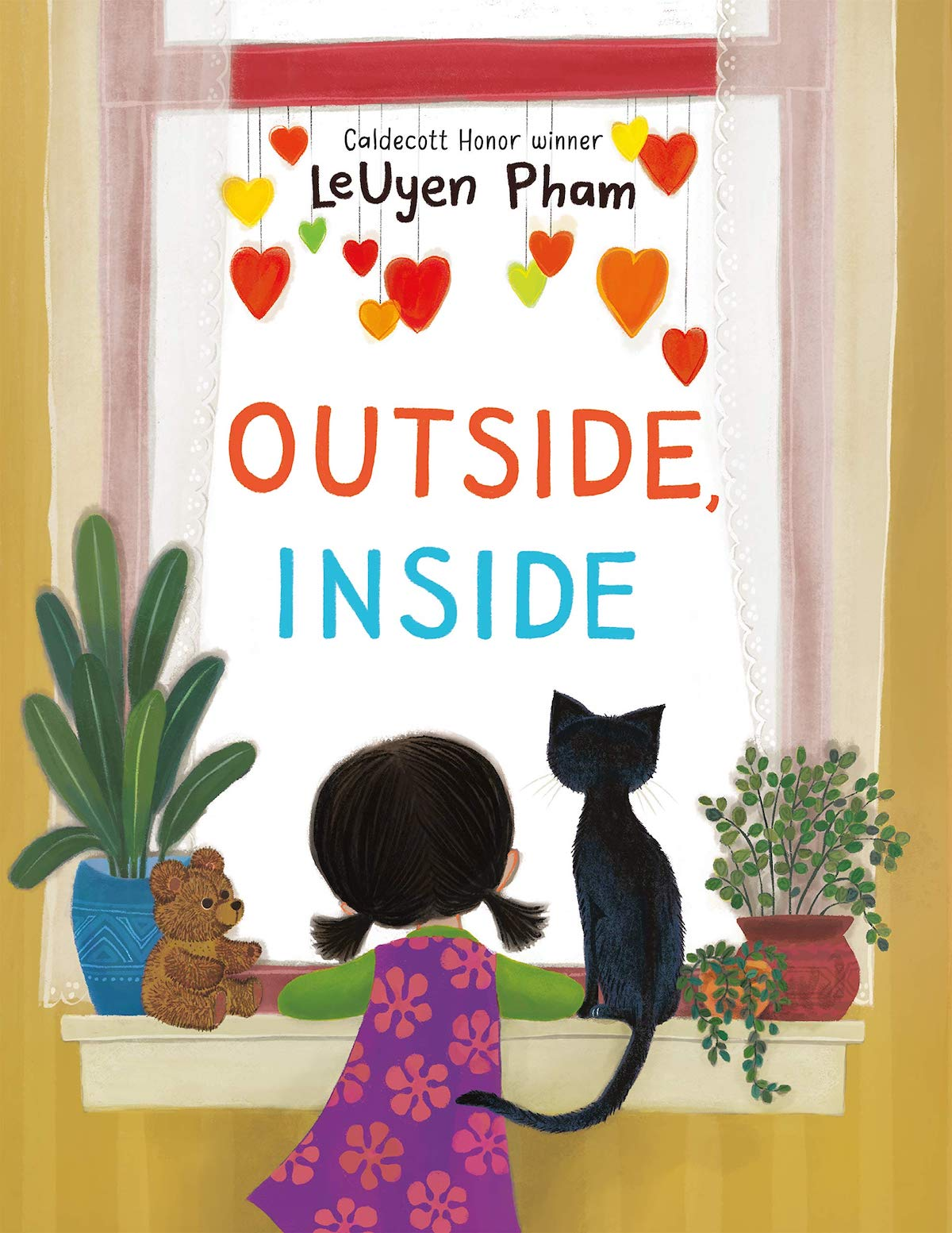 Cover of Outside, Inside features a girl and her cat leaning on a window sill and looking outside.