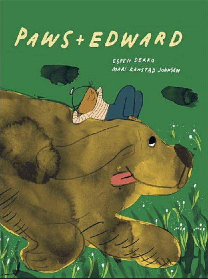 Cover for Paws + Edward depicts a boy in repose on the back of a giant romping dog.