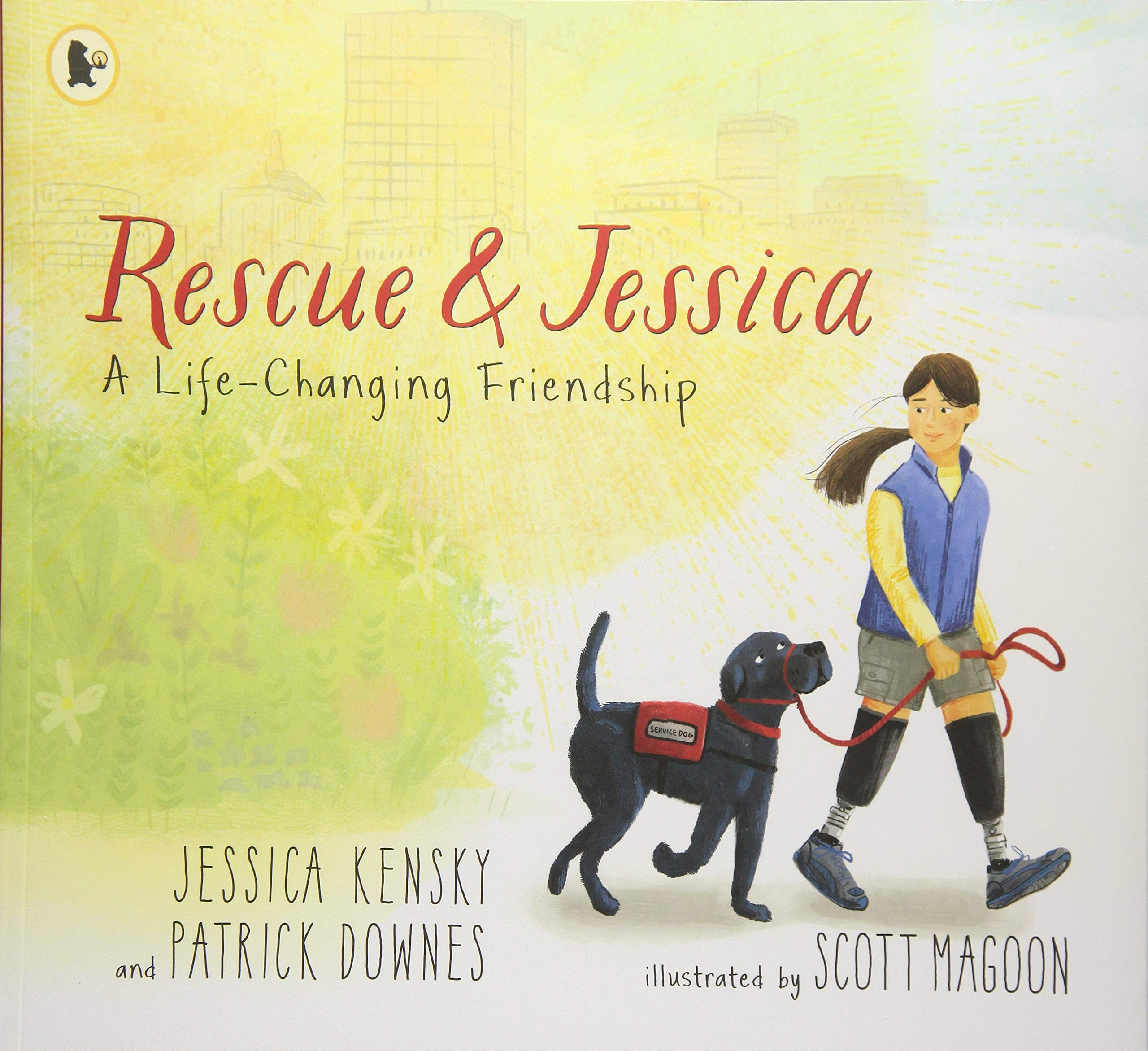 Book cover illustration for Rescue and Jessica featuring women with dog on left