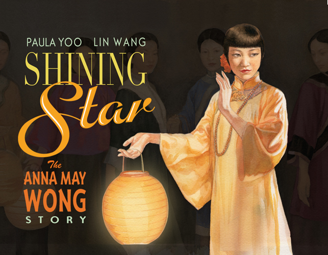 Cover of Shining Star depicting an Asian woman with short black hair in a golden gown holding a lantern in front of a dark background with the barely visible faces of two people behind her.
