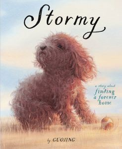 Cover of Stormy features a small, curly-haired dog and his ball created in soft hues with pencil and watercolor