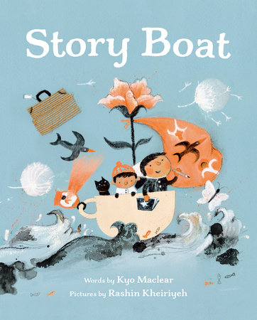 Story Boat cover shows two children and a cat sailing in a teacup with a flower for a mast and surrounded by animals and objects.