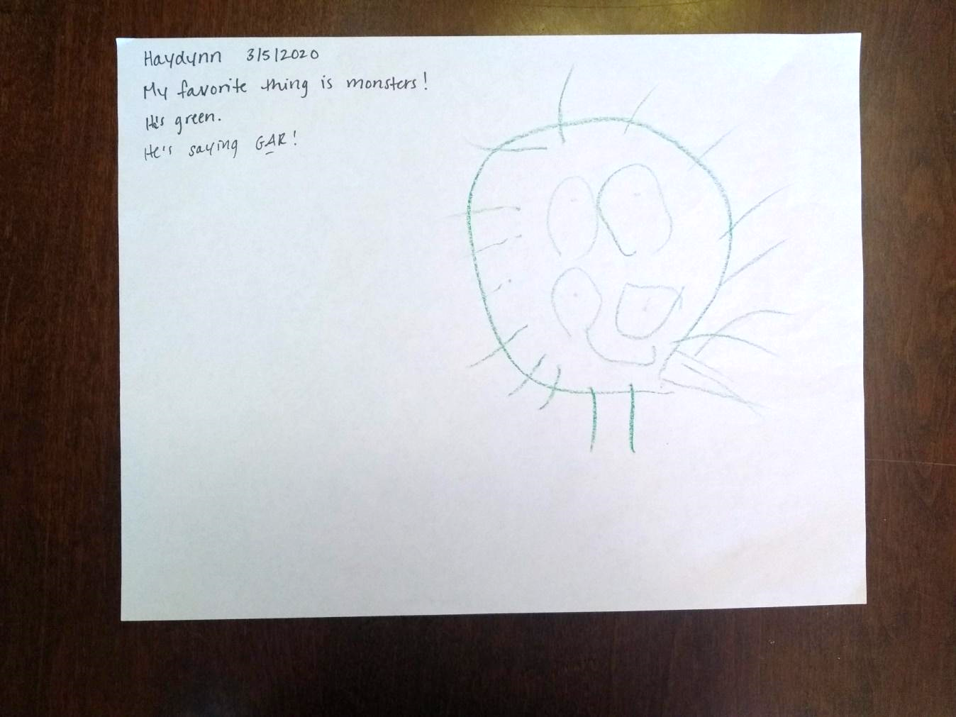 Haydynn's picture and story about a green monster.