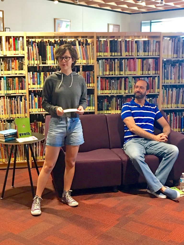 Teen Reading Ambassador George Ballenger introduces author Bill Konigsberg