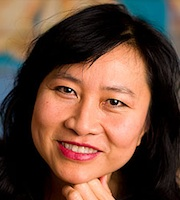 Up-close profile photo of Thanhha Lai smiling.