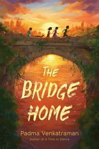 The Bridge Home cover depicts four children and a dog running over a bridge with a city skyline in the warm orange background.