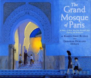 Cover of The Grand Mosque of Paris depicting Jewish families walking into a blue mosque.