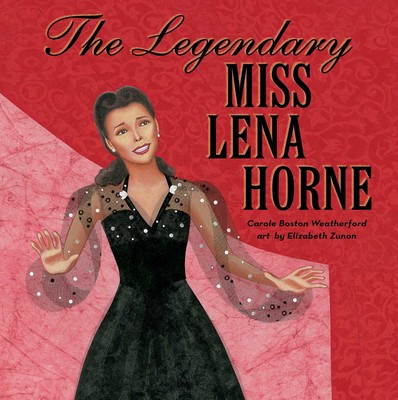 Cover of The Legendary Miss Lena Horne depicting a black woman in a black dress in front of a red background.