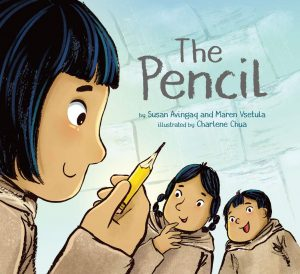 The Pencil cover shows the close-up profile of girl holding up a sharpened pencil to two of her friends.