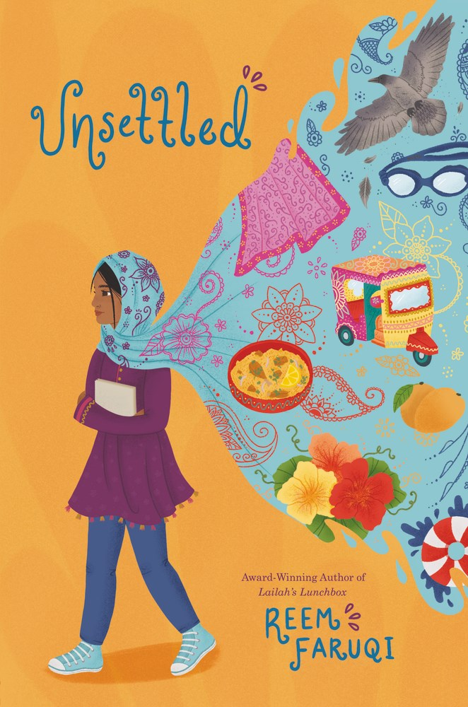 Cover of Unsettled depicting a young girl in a light blue hijab walking towards the left on a yellow background, her hijab spilling out behind her to hold aspects of Pakastani culture suck as food, flowers, and street cars.