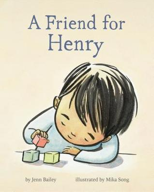 Cover of A Friend For Henry depicting a young boy with black hair playing with colored blocks
