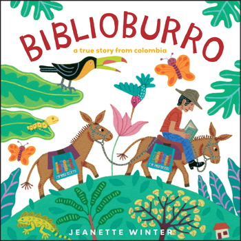Cover of Biblioburro depicting a man on a donkey reading a book as he travels to the right side of the cover.