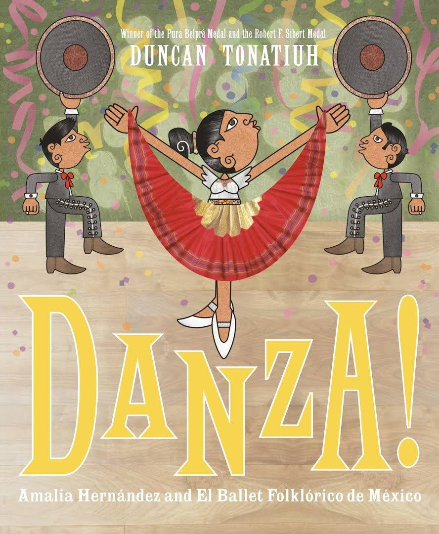 Cover of Danza! depicting a dancer lifting a red skirt with two men in the background.