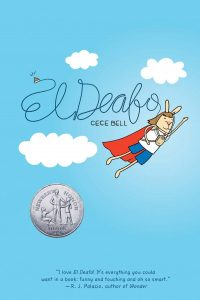 The cover of El Deafo, depicting a humanoid rabbit wearing a cap flying through a clouds and a blue sky.