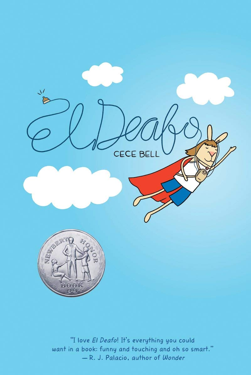 The cover of El Deafo, depicting a humanoid rabbit wearing a cape flying through a clouds and a blue sky.